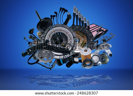 Many new auto parts for aftermarket, OEM spare parts. Big pile of new parts for passenger car. Spare parts and auto parts for shop, auto service. Set new part for car. All spare parts was isolated. - stock photo