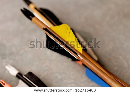 many new modern feathered end of arrows  - stock photo