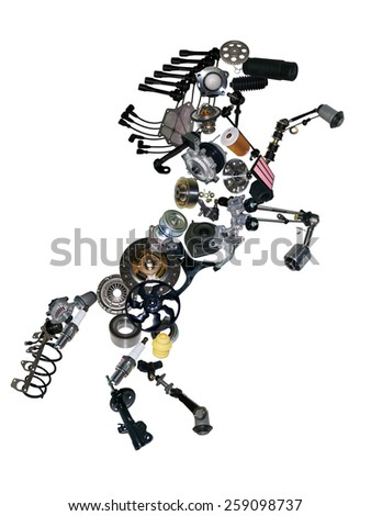 Many new spare parts in the form of a horse. - stock photo