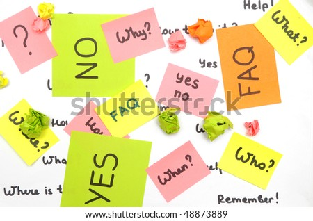 many notes with questions over white background - stock photo