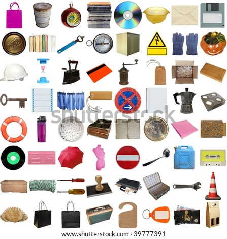 Many object isolated over white background (all pictures in the collage are mine) - stock photo