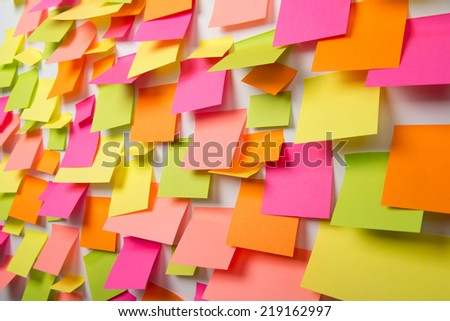 Many of colorful stickers on a white background - stock photo