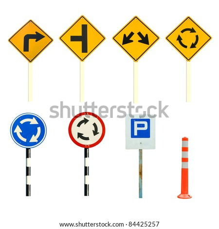 many of traffic sign - stock photo