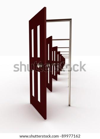 Many open doors isolated on white background. 3D image - stock photo