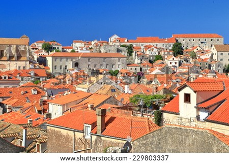 Many orange roof tops in the old town of Dubrovnik, Croatia - stock photo