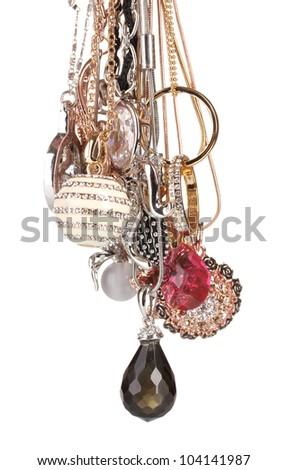 Many pendants isolated on white - stock photo