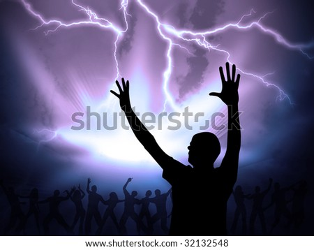 many people are praising the holy lord - stock photo