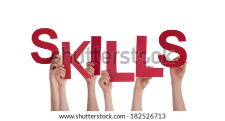 Many People Holding Skills as a Word, Isolated - stock photo