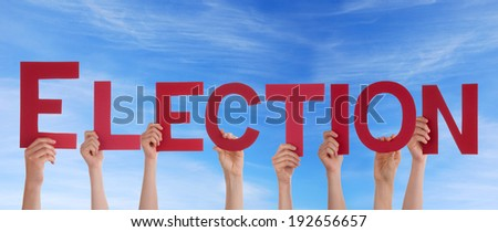 Many People Holding the Word Election in the Sky - stock photo