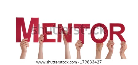 Many People Holding the Word Mentor, Isolated - stock photo