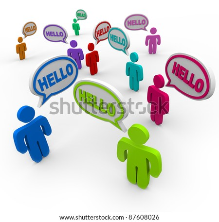 Many people of different colors representing various cultures speaking and greeting each other saying hello in speech clouds or bubbles - stock photo
