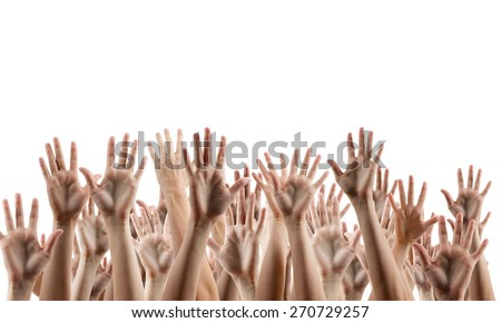 Many people's hands up isolated on white background. Various hands lifted up in the air. Clipping path. Copy space. - stock photo