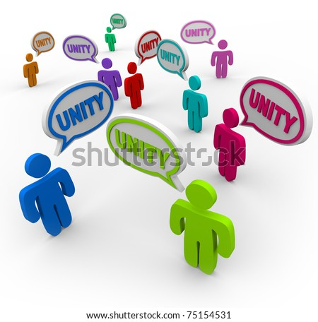 Many people talking at the same time, pledging allegiance to the group by speaking the word Unity - stock photo
