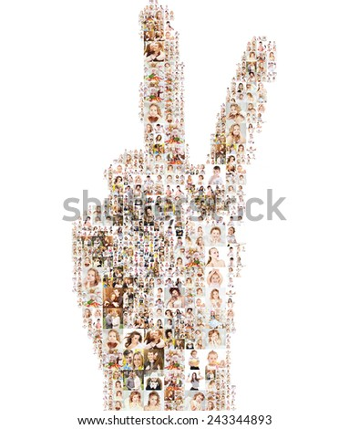 many pictures of people form the sign of victory. Design idea with non-smooth edges - stock photo