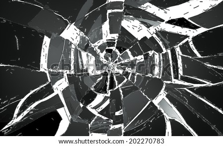 Many pieces of Deflated and shattered glass over white. Useful as background - stock photo