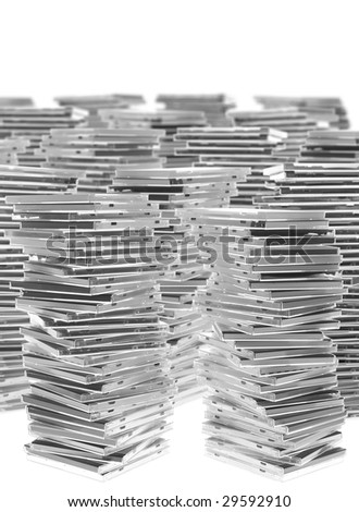 Many piles of CD cases. Pure white background. - stock photo
