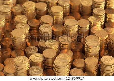 Many piles of one US Dollar coins - stock photo