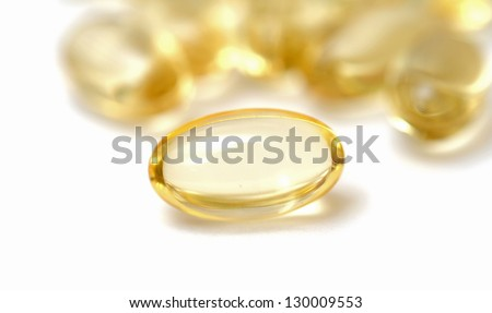 many  pills spreading on white background - stock photo