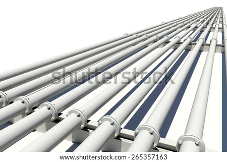 Many pipes stretching into distance. Isolated on white background - stock photo