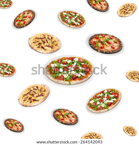 many pizzas - stock photo