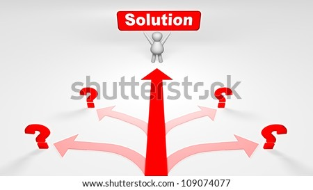 Many problems but one solution - stock photo