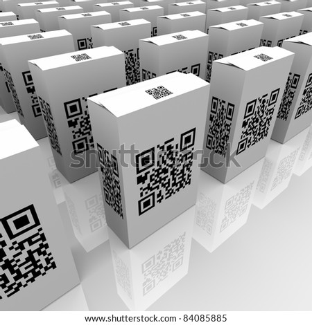 Many product boxes feature QR codes for scanning with a smart phone or other device, useful for detailed information or comparison of similar goods or merchandise in retail - stock photo