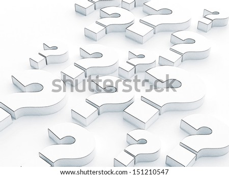 Many question marks 3d illustration - stock photo