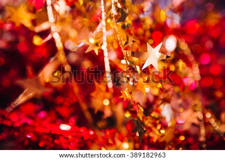 many red and gold  Christmas decoration  garland  - stock photo