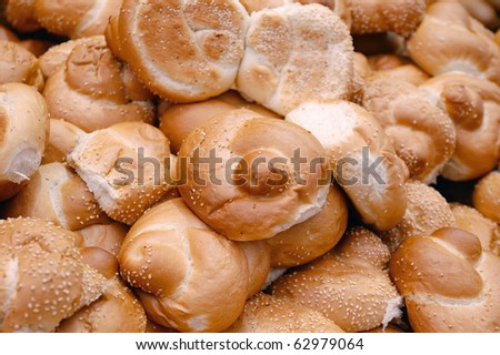 many rolls on market stand - stock photo