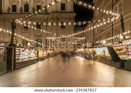 many sales booth at the christmas market - stock photo