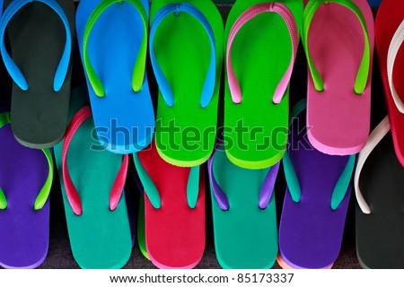 many sandal have many color - stock photo