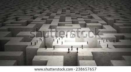 Many silhouettes of business people walking on top of labyrinth - stock photo
