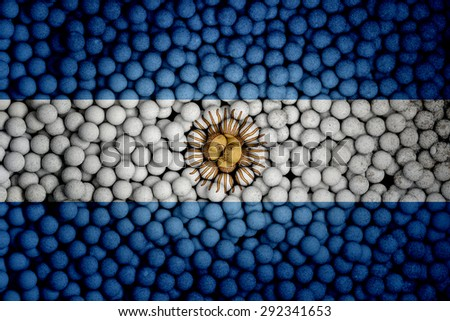 Many small colorful balls that form national flag of Argentina. 3d render image. - stock photo