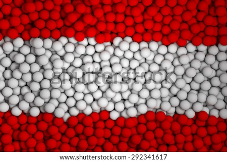 Many small colorful balls that form national flag of Austria. 3d render image. - stock photo
