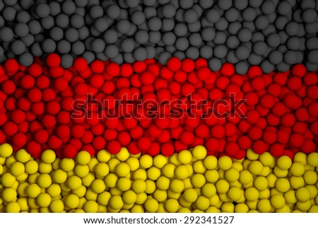 Many small colorful balls that form national flag of Germany. 3d render image. - stock photo