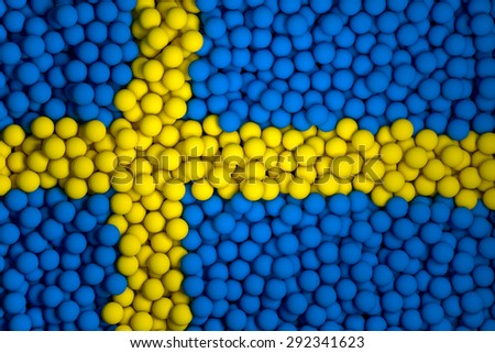 Many small colorful balls that form national flag of Sweden. 3d render image. - stock photo