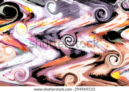 Many small colorful spirals and whirls in a colorful environment - stock photo
