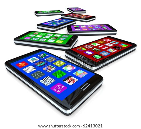 Many smart phones with application tiles on their touchscreens - stock photo