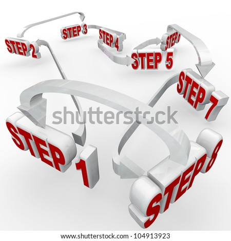 Many steps, numbered 1 through 8, connected in a flowchart diagram to give you instructions on completing a complex project or performing a complicated task - stock photo