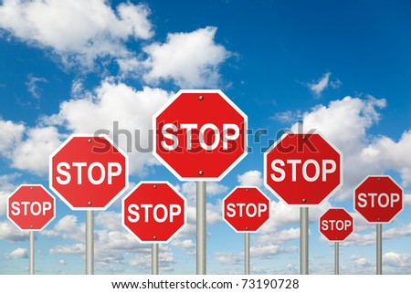 many stop signs on White, fluffy clouds in blue sky collage - stock photo