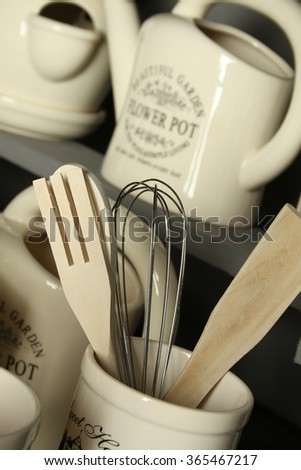 Many stylish kitchen accessories. Interior details in the kitchen - stock photo