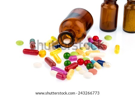 many tablets with a glas. photo icon for addiction and costs in medicine and medicines. - stock photo
