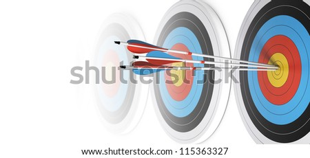 Many targets in a row, three arrows hits the first one in the center, over white, image fading to white at the background. - stock photo
