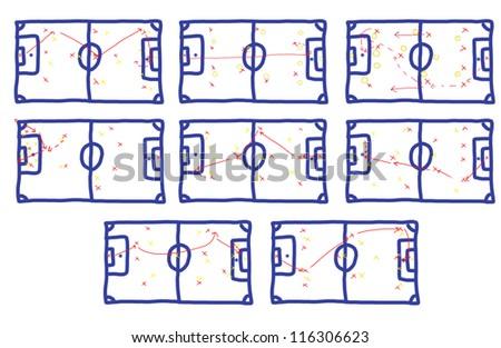 Many teamwork Football Game Plan Strategy - stock photo