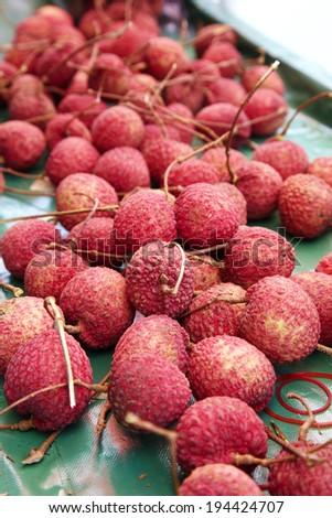 many thai lychee in market - stock photo
