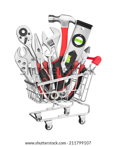 Many Tools in shopping cart, isolated on white background - stock photo