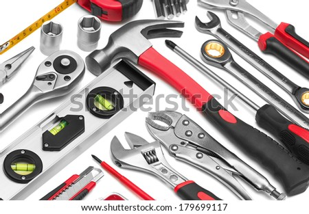 Many Tools on white background - stock photo