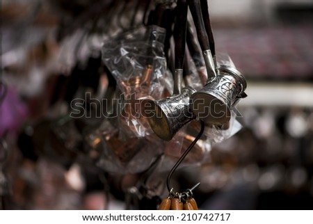 many Turkish Coffee Pots for sale  - stock photo