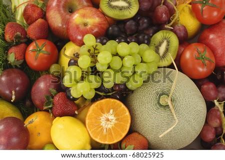 Many types of fruits - stock photo