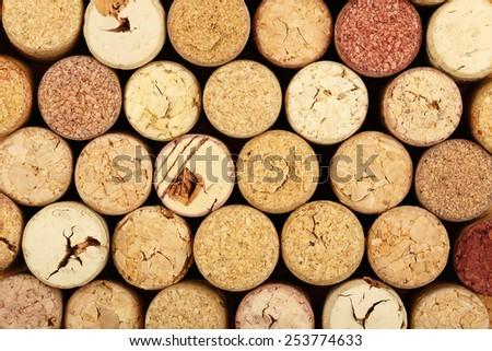 many used wine corks for background use - stock photo